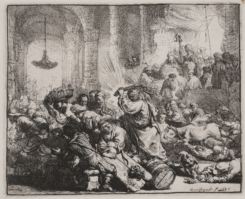 Rembrandt's 'Christ Driving the Money Changers from the Temple'<br />