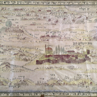 JERUSALEM PILGRIMAGE, 1875 Hebrew map for pilgrims to Palestine showing the city of Jerusalem.JPG