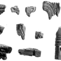 Carved wooden items from the House of the Burnt Room